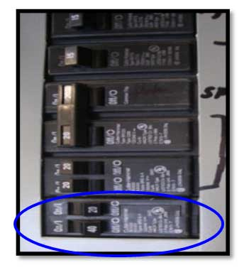circuit breaker set to the full-off position