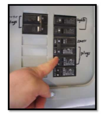 circuit breaker set to the on position